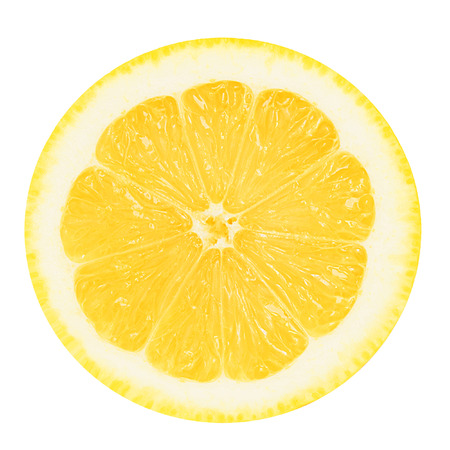 Photo for Juicy yellow section of lemon on a white background isolated - Royalty Free Image