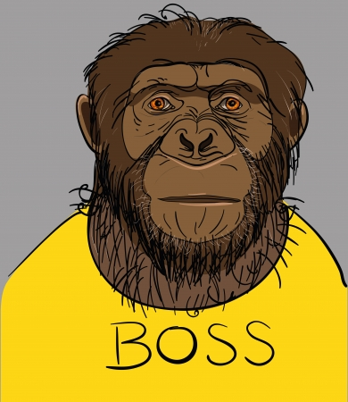 Illustration pour Portrait of a monkey dressed in a yellow T-shirt with the boss - image libre de droit