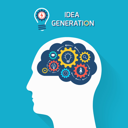 Illustration pour Idea generation and startup business concept. Human head with brain and gears. Infographic template. Vector illustration. - image libre de droit