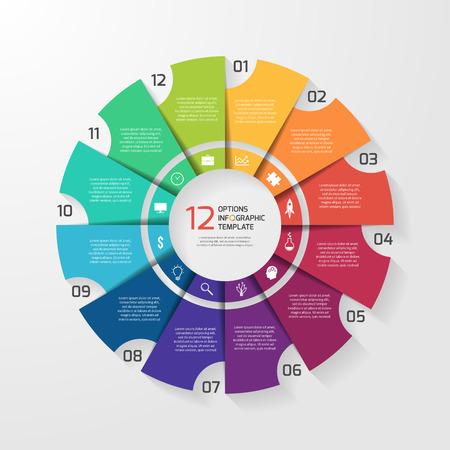 Illustration pour Vector circle infographic template for graphs, charts, diagrams. Pie chart concept with 12 options, parts, steps, processes. - image libre de droit