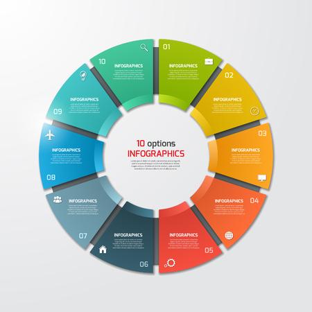 Illustration pour Pie chart circle infographic template with 10 options. Business concept. Vector illustration. - image libre de droit