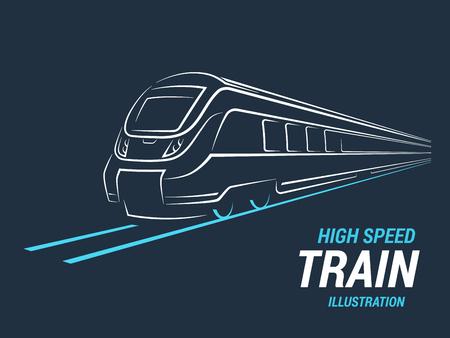Illustration pour High speed commuter train emblem, icon, label, silhouette. Vector illustration. - image libre de droit