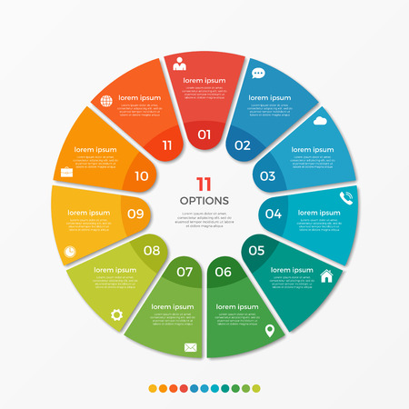 Illustration pour Circle chart infographic template with 11 options  for presentations, advertising, layouts, annual reports - image libre de droit