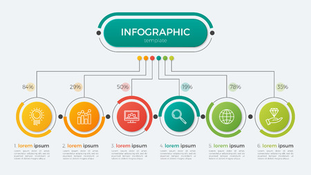 Illustration for Presentation business infographic template with 6 options. Vector illustration. - Royalty Free Image