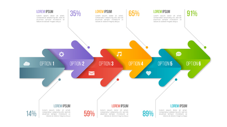 Illustration pour Timeline chart infographic template with arrows. 6 options. - image libre de droit
