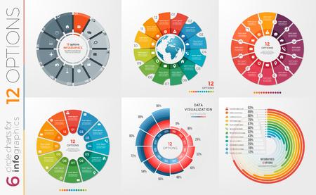 Ilustración de Collection of 6 vector circle chart templates 12 options. - Imagen libre de derechos