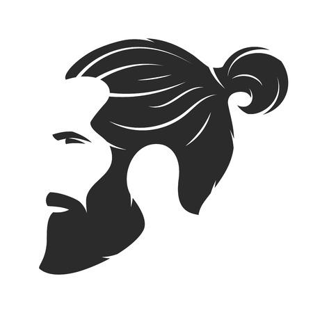 Ilustración de Silhouette of a bearded man, hipster style. Barber shop emblem. - Imagen libre de derechos