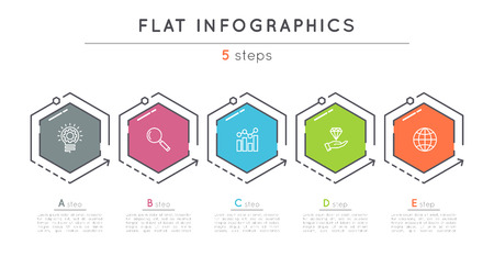 Illustration for Flat style 5 steps timeline infographic template. - Royalty Free Image