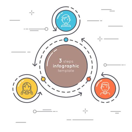 Ilustración de Flat style 3 steps circle infographic template. Thin line busine - Imagen libre de derechos