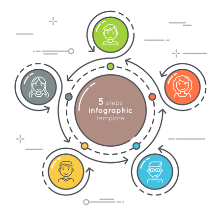 Illustration for Flat style 5 steps circle infographic template. Thin line busine - Royalty Free Image