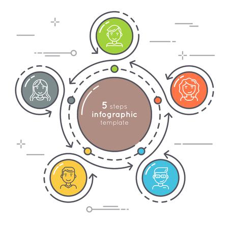 Ilustración de Flat style 5 steps circle infographic template. Thin line busine - Imagen libre de derechos