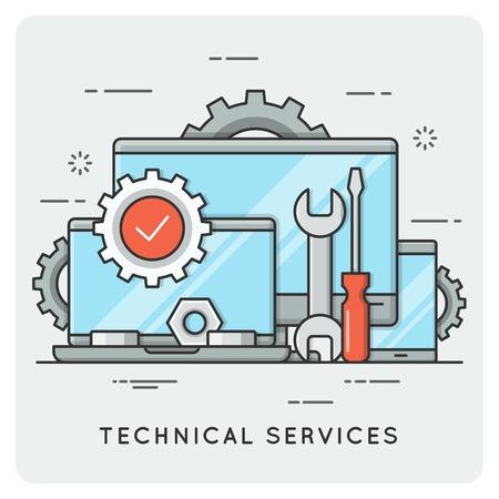 Illustration pour Technical services. Thin line concept. - image libre de droit