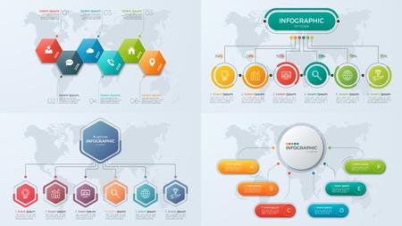 Ilustración de Set of presentation business infographic templates with 6 option - Imagen libre de derechos