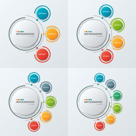 Ilustración de Circle chart infographic templates with 3-6 options for presenta - Imagen libre de derechos