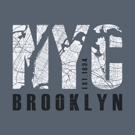 Illustration pour New York Brooklyn t-shirt and apparel design. - image libre de droit