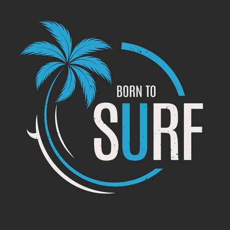 Illustration for Born to surf. T-shirt and apparel vector design, print, typography - Royalty Free Image