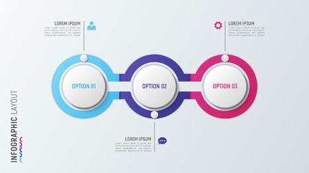 Ilustración de Three steps infographic process chart. 3 options vector template - Imagen libre de derechos