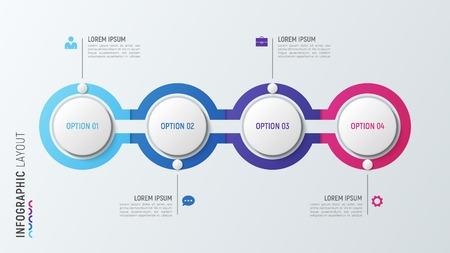 Ilustración de Four steps infographic process chart. 4 options vector template. - Imagen libre de derechos
