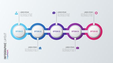 Ilustración de Fve steps infographic process chart. 5 options vector template. - Imagen libre de derechos