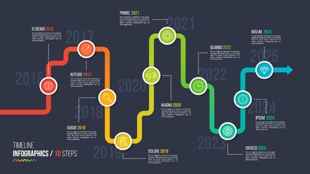 Illustration pour Ten steps timeline or milestone infographic chart. - image libre de droit
