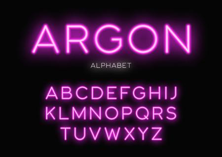 Illustration pour Glowing neon typeface design. Vector alphabet, letters, font, ty - image libre de droit