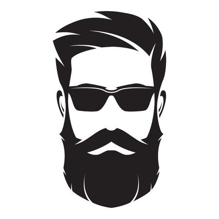 Ilustración de Bearded man s face, hipster character. Fashion silhouette, avata - Imagen libre de derechos
