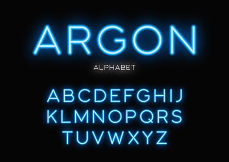 Ilustración de Glowing neon typeface design. Vector alphabet, letters, font, ty - Imagen libre de derechos