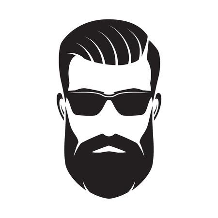 Illustration pour Bearded man s face, hipster character. Fashion silhouette, avata - image libre de droit