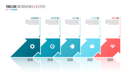 Illustration pour Arrows shaped timeline infographic template. 5 steps, options, p - image libre de droit