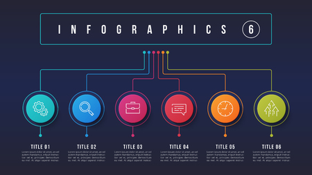Illustration pour Vector 6 options infographic design, structure chart, presentation template. Editable stroke and global swatches. - image libre de droit