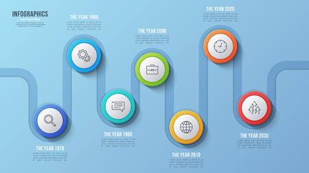 Ilustración de Vector 7 steps timeline chart, infographic design, presentation - Imagen libre de derechos