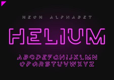 Ilustración de Helium vector futuristic linear neon alphabet, typeface, letters - Imagen libre de derechos
