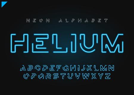 Illustration pour Helium vector futuristic linear neon alphabet, typeface, letters - image libre de droit