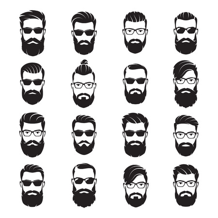 Ilustración de Set of vector bearded men faces hipsters with different haircuts - Imagen libre de derechos