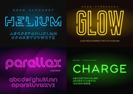 Illustration for Set of glowing neon vector typefaces, alphabets, letters, fonts, - Royalty Free Image