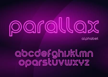 Ilustración de Parallax vector linear neon typefaces, alphabet, letters, font, - Imagen libre de derechos