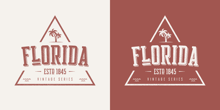 Ilustración de Florida state textured vintage vector t-shirt and apparel design. - Imagen libre de derechos