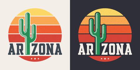 Ilustración de Arizona t-shirt design, print, typography, label with styled sag - Imagen libre de derechos