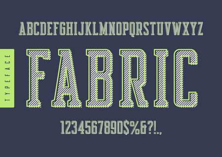 Illustration pour Fabric vector condensed retro typeface, uppercase letters and numbers with light green outline. - image libre de droit