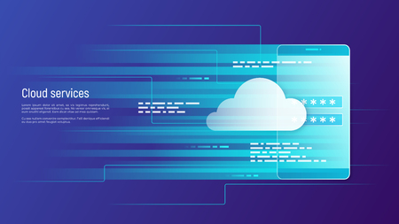 Illustration pour Cloud services, remote data storage vector concept. Global. - image libre de droit
