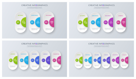 Illustration pour Set of contemporary minimalist vector infographic designs. - image libre de droit