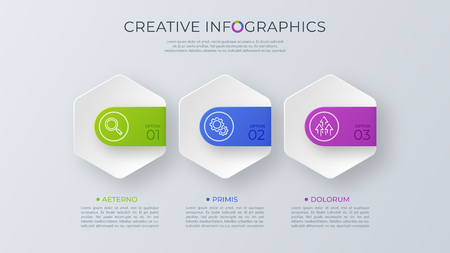 Ilustración de Contemporary minimalist vector infographic design with three opt - Imagen libre de derechos