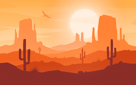 Illustration pour Daytime cartoon flat style desert landscape. - image libre de droit