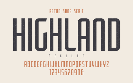 Illustration pour Highland vector condensed regular retro typeface, uppercase lett - image libre de droit