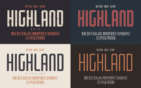 Illustration pour Highland vector condensed bold inline regular and light retro ty - image libre de droit
