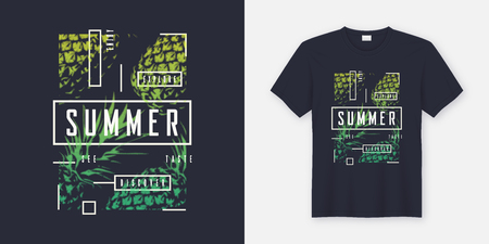 Illustrazione per Summer t-shirt and apparel modern design with styled pineapples, typography, print, vector illustration. Global swatches. - Immagini Royalty Free