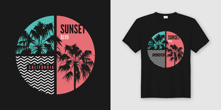 Illustration pour Sunset Blvd California t-shirt and apparel trendy design with palm trees silhouettes, typography, print, vector illustration. Global swatches. - image libre de droit
