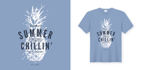 Illustration for Summer chillin graphic tee vector design with stylized pinapple. Global swatches. - Royalty Free Image