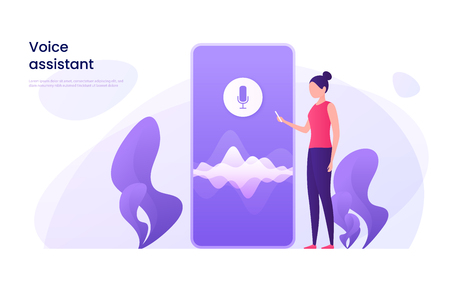 Ilustración de Voice recognition, personal ai assistant, search technology concept. - Imagen libre de derechos