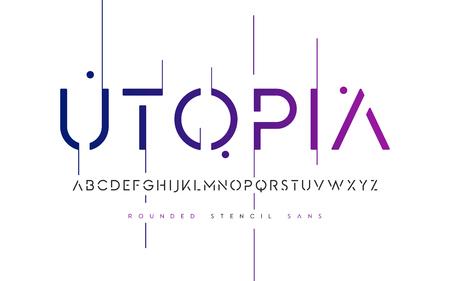 Ilustración de Rounded stencil san serif, alphabet, uppercase letters - Imagen libre de derechos